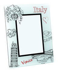 Beige photo frame with drawings and red words Italy, Venice