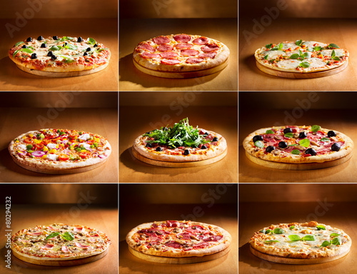 Wall mural pizza collage