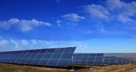 Solar panels installation in the fields