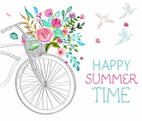 Watercolor flowers and bicycle