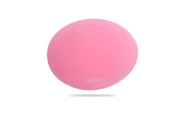 Pink egg isolated on white