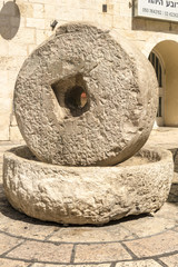 The monument in the form of a millstone in Israel