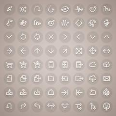 Stroke Arrow Round Icons Set