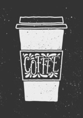 Chalkboard Style Typographic Coffee Cup Design
