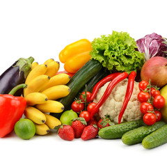 Canvas Prints Fresh vegetables assortment fresh fruits and vegetables on white