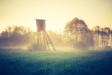 Vintage photo of raised hide on foggy meadow