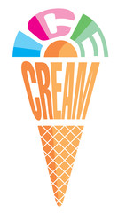 vector stylized image ice cream of letters