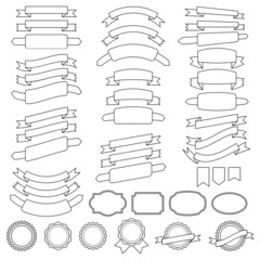 vector collection of decorative design elements - ribbons, badge