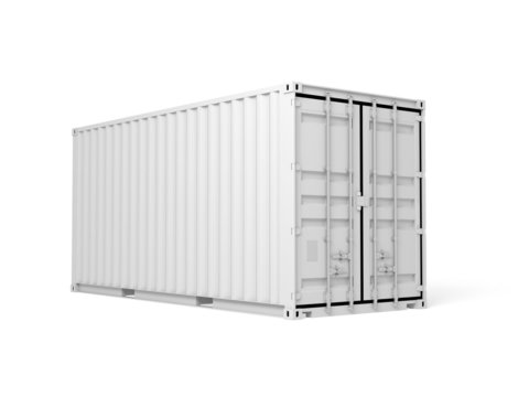 White cargo container isolated on white background