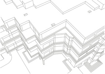 architectural linear sketch of building