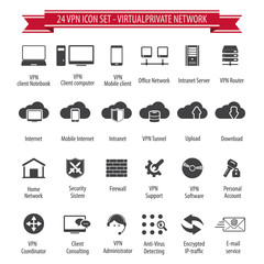 VPN icon set - 24 icon set - Virtual Private Network