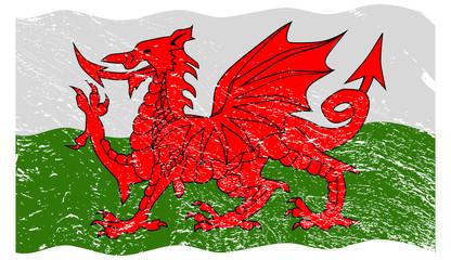 Welsh Flag Grunged