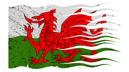 Wavy Welsh Flag Grunged