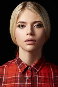 Beauty woman face close up portrait.