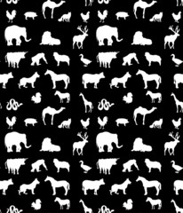 Seamless animals  silhouettes monochrome pattern