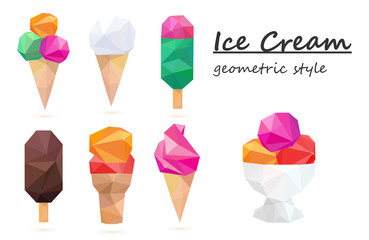 Ice cream set, colorful, assorted. Geometric style, vector