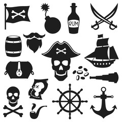 Set of objects and elements on pirate theme
