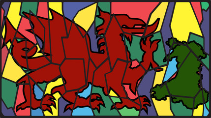 Welsh Dragon On Stained Glass