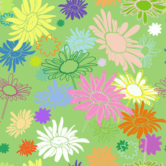 Seamless multi-colored flowers on a green background, with varyi