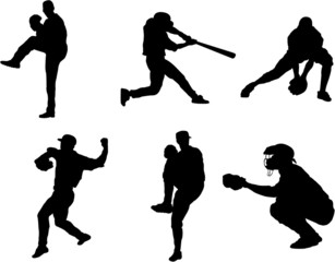 Set of Baseball Players Vector Silhouettes