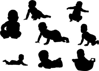 The se of 8 Baby silhouette