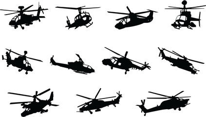 The set of Military Helicopter silhouette
