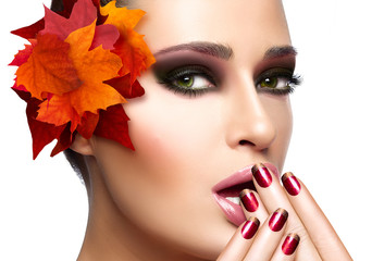 Trendy Autumnal Makeup and Nail Art. Beauty Fashion Concept
