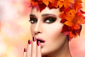 Fall Fashion Makeup and Nail Art Trend. Beauty Fashion
