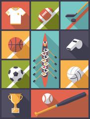 Flat Design Team Sports Flat Icons Vector Illustration