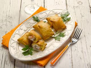 panzerotti with smoked salmon and cheese