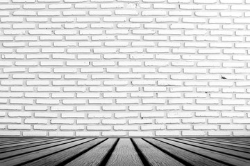 old wooden floor platform and White grunge brick wall background