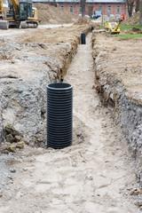 Mastfundament im Kabelgraben
