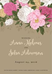 Vector vintage floral wedding invitation.