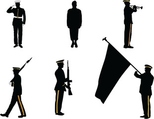 The set of memorial day silhouette