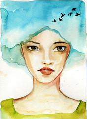 Keuken foto achterwand Schilderkunstige Inspiratie abstract watercolor illustration depicting a portrait of a woman