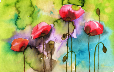 Aluminium Prints Painterly Inspiration watercolor illustration depicting spring flowers in the meadow