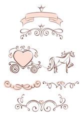 Set design elements for Valentine days and Wedding
