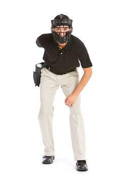 Baseball: Umpire Waits for the Pitch