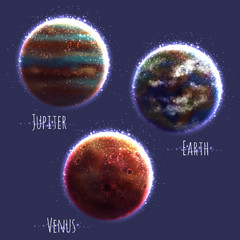 Vector set with three Solar System planets
