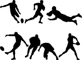 6 Rugby silhouettes