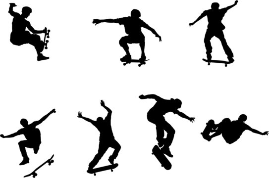 The set of skateboarder silhouette