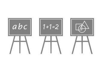 Grey blackboard icons on white background