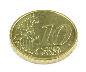 Ten euro cent on white background