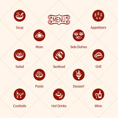 Classic restaurant menu icons isolated