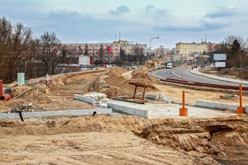 Fototapeta budowa linii tramwajowej w Olsztynie obraz