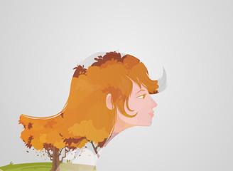 Double exposure girl: Tree concept