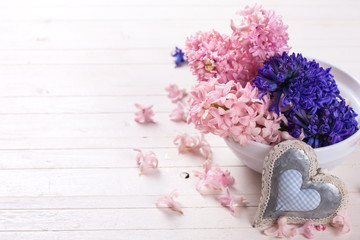 Hyacynths flowers and decorative heart