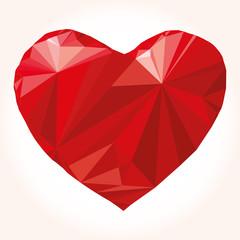 Heart origami. Vector Illustration. Abstract polygonal heart.