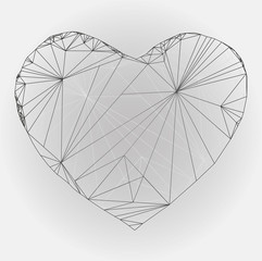 Heart origami. Vector Illustration. Abstract polygonal heart.