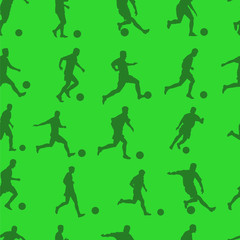 green pattern seamless with footballers